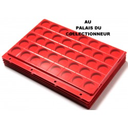 .Plateaux feutrine rouge + couvercles perforés pour classeur standard x5 FTR5