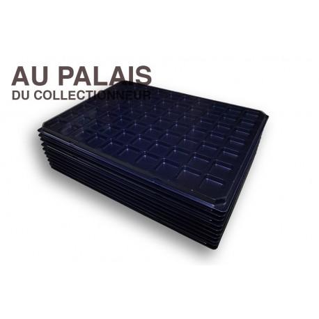 .Plateau+couvercle 70 cases noir matière recyclée X10 LOT N°M106