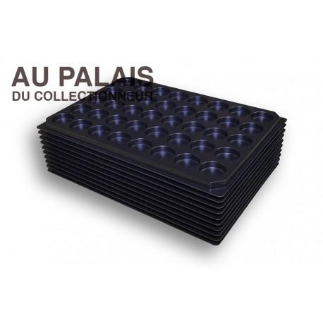 .Plateaux noir matière recyclée alvéoles rondes X10 LOT N°M86
