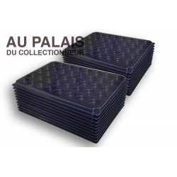.Plateaux noir recyclée rondes avec couvercles X100 LOT N°M703