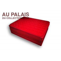 .Plateau 70 cases TEXTILE rouge X10 LOT N°M112