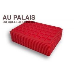 .Plateaux plastique rouge alvéoles carrées X10 LOT N°M08