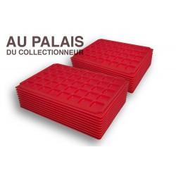 .Plateaux plastique rouge alvéoles carrées X100 LOT N°M43