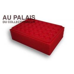 .Plateaux plastique rouge alvéoles rondes X10 LOT N°M 3