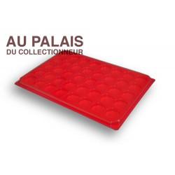 .Plateau plastique rouge rondes avec couvercle X1 LOT N°M76
