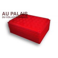 .Plateaux plastique rouge rondes avec couvercles X10 LOT N°M77