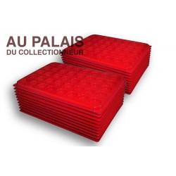 .Plateaux plastique rouge rondes avec couvercles X100 LOT N°M78