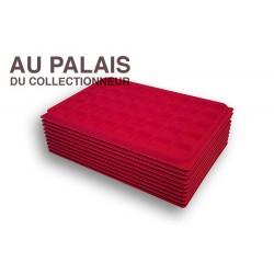 .Plateaux TEXTILE rouge alvéoles carrées X10 LOT N°M14