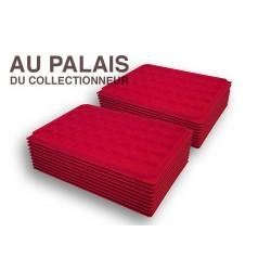 .Plateaux TEXTILE rouge alvéoles carrées X100 LOT N°M15