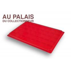 .Plateau TEXTILE rouge alvéoles carrées + couvercle X1 LOT N°M99