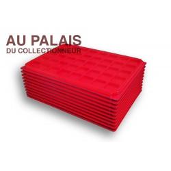 .Plateau TEXTILErouge alvéoles carrées + couvercleX10 LOT N°M100