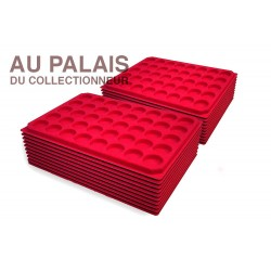 .Plateaux TEXTILE rouge alvéoles rondes X100 LOT N°M39