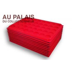.Plateau TEXTILE rouge alvéoles rondes + couvercleX10 LOT N°M103