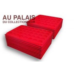 .PlateauTEXTILE rouge alvéoles rondes + couvercle X100LOT N°M104