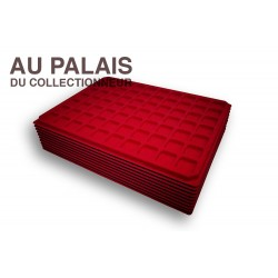 .Plateau 70 cases TEXTILE rouge X10 LOT N°M305