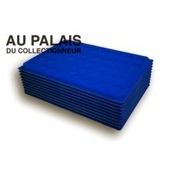.Plateaux feutrine (rondes) bleu X10 LOT N°br10