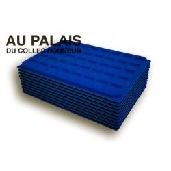 .Plateaux feutrine (carrées) bleu X10 LOT N°bc10