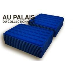 .Plateaux feutrine (carrées) bleu X100 LOT N°bc100