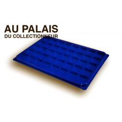 .Plateaux feutrine (carrées) bleu X1 avec couvercle LOT N°bcc