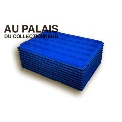 .Plateaux feutrine (carrées) bleu X10 avec couvercle LOT N°bcc10