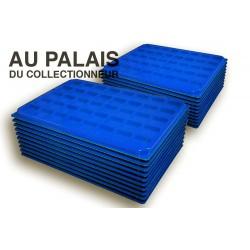 .Plateaux feutrine (carrées) bleu X100 avec couvercle LOT N°bcc100