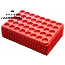 .Plateaux plastique rouge alvéoles rondes X10 LOT 1ARPR10
