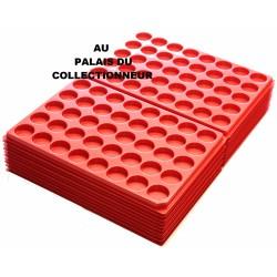 .Plateaux plastique rouge alvéoles rondes X100 LOT 1ARPR100