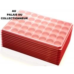 .Plateaux plastique rouge rondes avec couvercles X10 LOT N°1ARPRC10