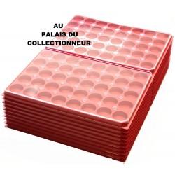 .Plateaux plastique rouge rondes avec couvercles X100 LOT 1ARPRC100