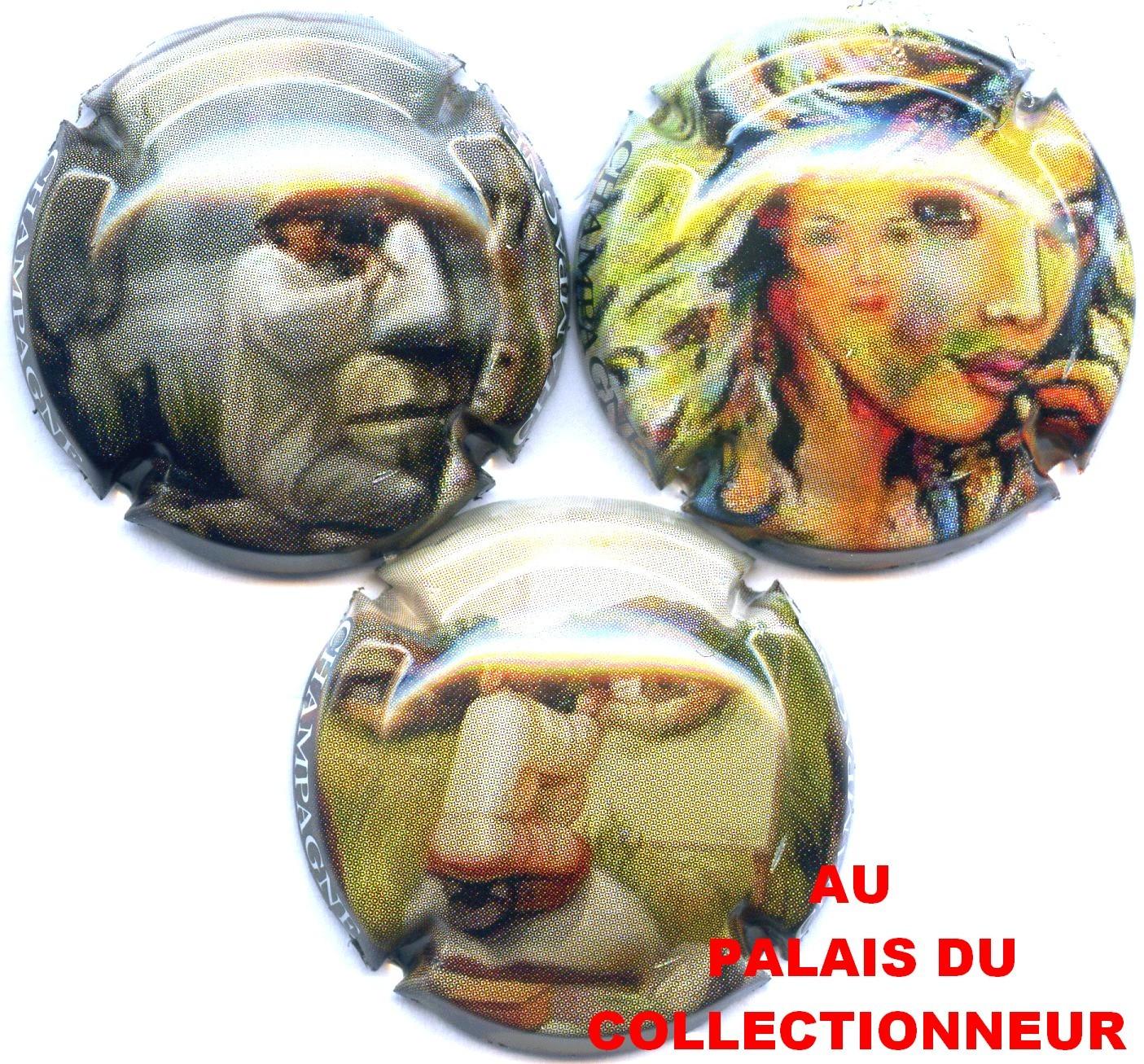 """SERIE DE 3 CAPSULES DE CHAMPAGNE GENERIQUE /""""Trompe l/'oeil/"""""""