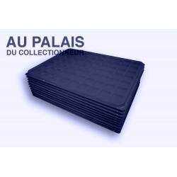 .Plateau+couvercle 70 cases FEUTRINE bleu X10 LOT N°M110