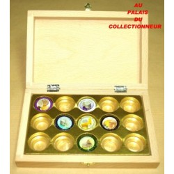 .COFFRET BOIS 15 CASES LOT N°M93